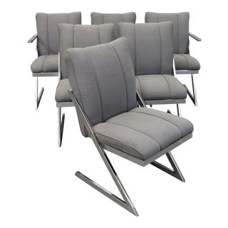 Set of 6 Mid-Century Modern Milo Baughman Z-Bar Cantilever Dining Chairs For Sale