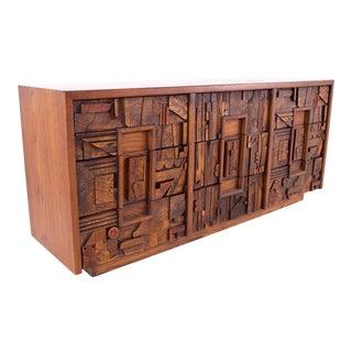 Mid Century Paul Evans Style Lane Pueblo Brutalist Walnut 9 Drawer Lowboy Dresser For Sale