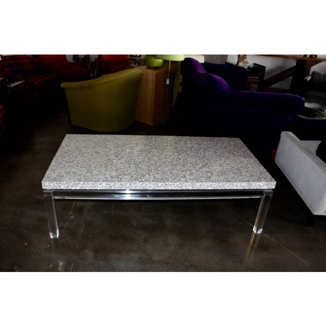 Hollywood Regency Phyllis Morris Custom Lucite and Mother of Pearl Coffee Table Signed For Sale - Image 3 of 11