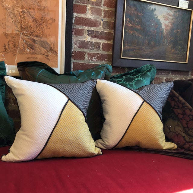 Custom Pillows in Jim Thompson Outdoor Fabric - A Pair - Image 9 of 9