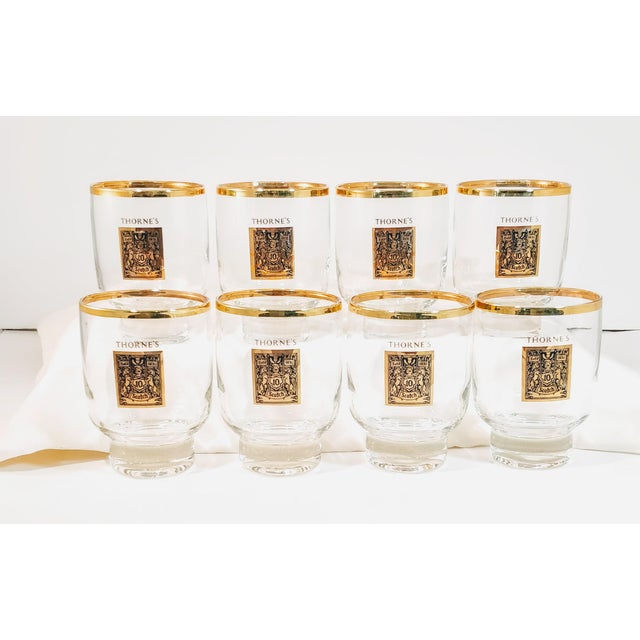 Mid-Century Modern 1960's Gold Rimmed Thorne Scotch Lowball Glass For Sale - Image 3 of 10