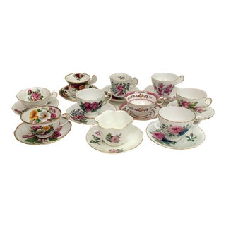 1970s English Bone China Tea Cup Collection - Set of 20 For Sale