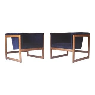 Milo Baughman Blue Velvet Cube Lounge Chairs - A Pair