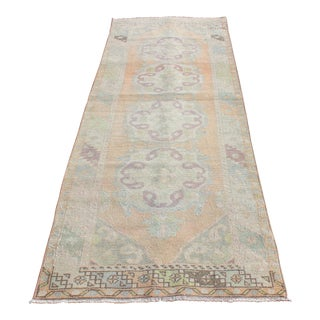 Vintage Muted Tone Runner Carpet -10' 2'' x 2' 9'' For Sale