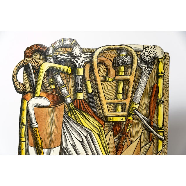 Hollywood Regency Vintage Piero Fornasetti (1913-1988) Tole Umbrella Stand For Sale - Image 3 of 11