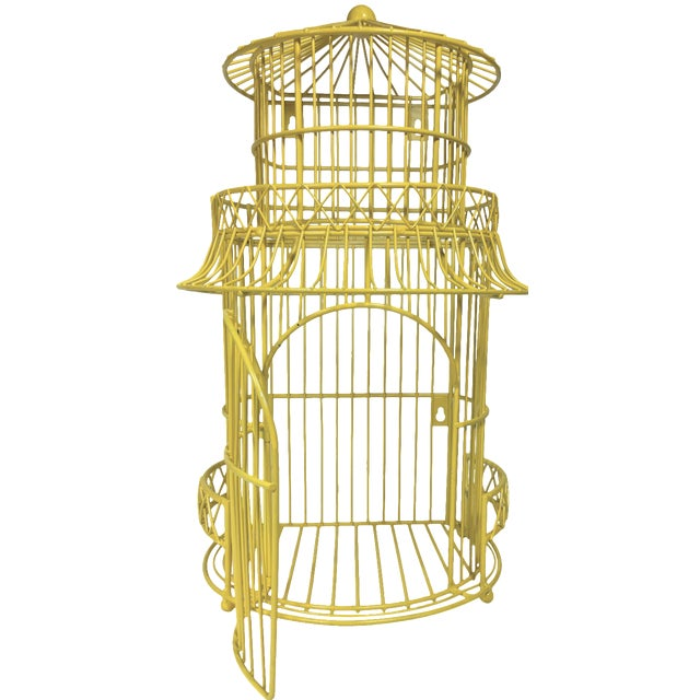 Canary Yellow Chinoiserie Birdcage - Image 1 of 7