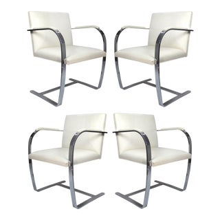 Mies Van Der Rohe White Leather Flat Bar Brno Chairs by Knoll- Set of 4 For Sale
