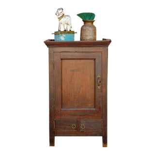 Patinated Teak Colonial Cabinet For Sale