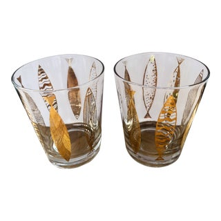 Vintage Mid-Century Fred Press Gold Fish Cocktail Glasses- A Pair For Sale