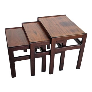 1980s Danish Modern Rosewood Nesting Tables by Dyrlund - Set of 3 For Sale