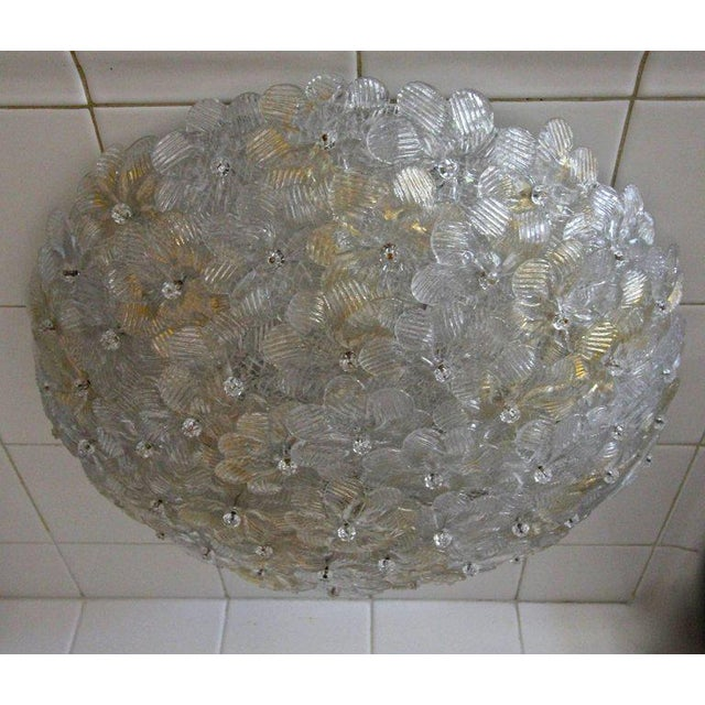 1970s 1970s Murano Glass Floral Pendant Flush Mount Lights - A Pair For Sale - Image 5 of 13
