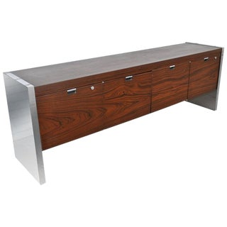 Roger Sprunger for Dunbar 6.5 Ft Rosewood Chrome Credenza For Sale