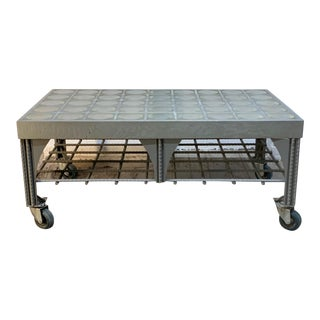 Custom Industrial Steel Coffee Table W/ Faceted Glass Top For Sale