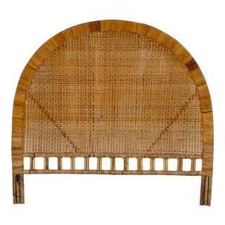 Boho Chic Bamboo and Woven Wicker Rattan Headboard For Sale