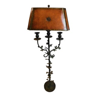1990s Vintage Maitland Smith Wrought Iron Verdigris Floor Lamp For Sale
