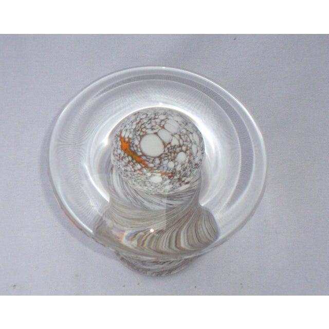 Murano Art Glass Brown White Swirl Mushroom - Image 8 of 11