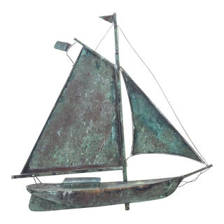 Vintage Copper Sailboat Weathervane For Sale