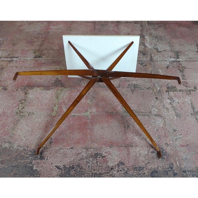 Mid Century Modern Geometric Side Table With Goatskin Top For Sale - Image 9 of 10