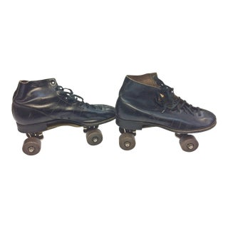 Vintage Weathered Black Leather Roller Skates