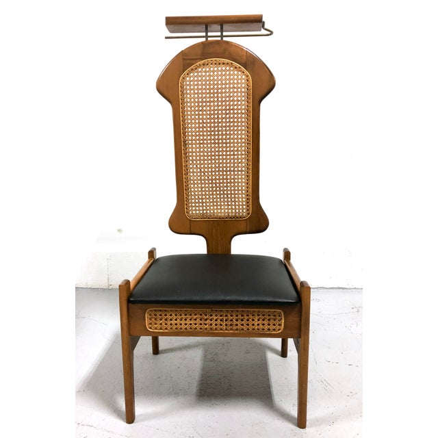 Great vintage Italian-made valet/butler chair with new seat upholstery (Italian leatherette) caned back and brass...