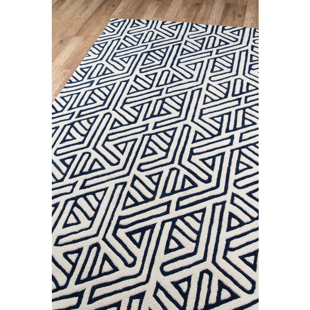 "Contemporary Contemporary Momeni Delhi Hand Tufted Navy Wool Runner - 2'3"" X 8' For Sale - Image 3 of 7"
