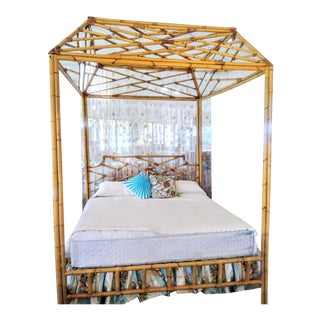 Custom Made Palm Beach Regency Bamboo Chippendale Chinoiserie King Size Massive Canopy Tray Bed Headboard Frame For Sale