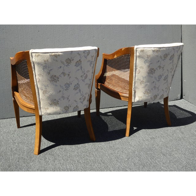 Fabric Vintage Wood & Cane White Club Chairs For Sale - Image 7 of 9