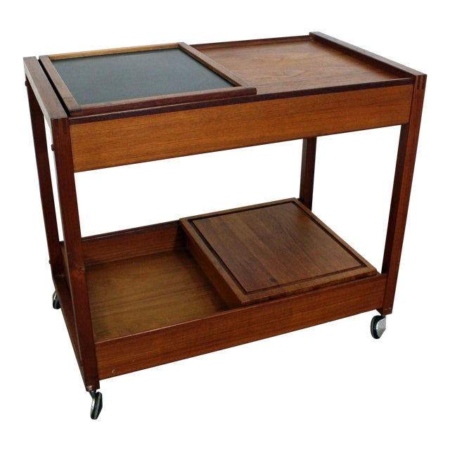 Mid-Century Danish Modern Teak Sliding Door Bar Cart For Sale