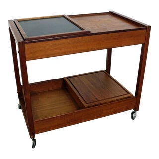 Mid-Century Danish Modern Teak Sliding Door Dry Bar Cart For Sale