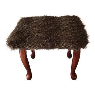 Vintage Mahogany Faux Wolf Fur Foot Stool