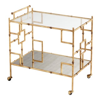 Chippendale Faux Bamboo and Mirror Martini Cart For Sale