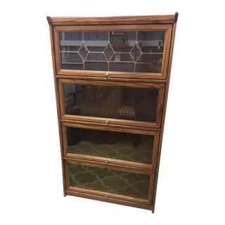 Globe-Wernicke Oak and Leaded Glass Our-Stack Barrister Bookcase For Sale