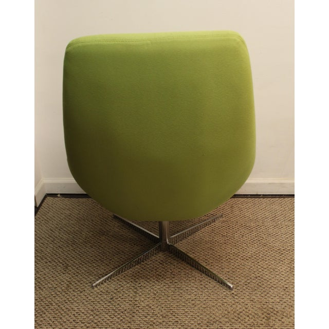 Mid-Century Lime Green Swivel Lounge Chair & Ottoman - Image 6 of 11