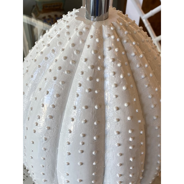 Vintage White Sea Urchin Style Palm Beach Table Lamps Newly Restored -A Pair For Sale - Image 11 of 12