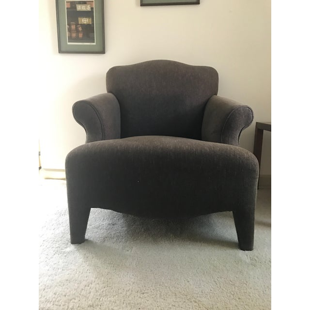 Fabric Room & Board Club Chair & Ottoman For Sale - Image 7 of 11