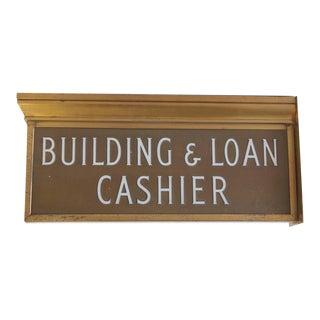 "1900s Brass Light Up ""Building & Loan Cashier"" Sign"