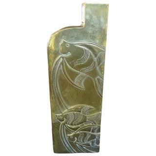 1960's Modernist Brass Vase For Sale