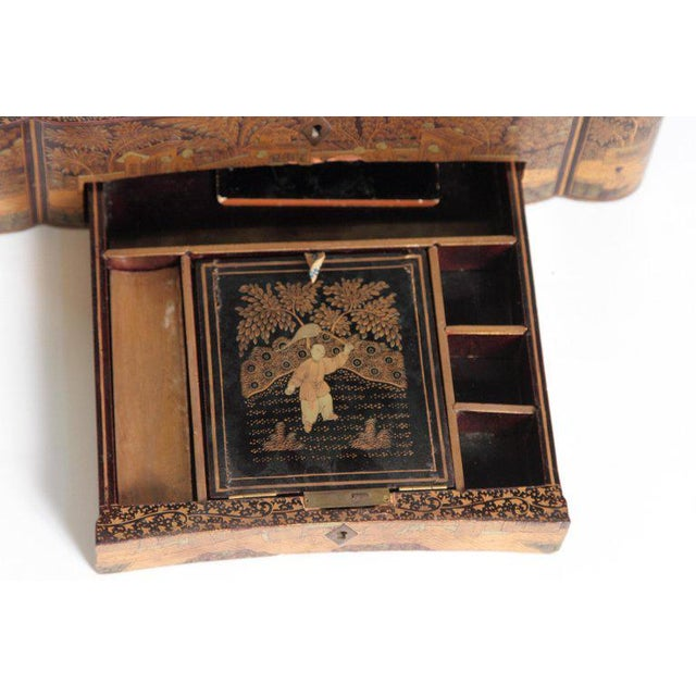 19th Century Chinese Export Chinoiserie Lacquer Sewing Box For Sale - Image 9 of 13