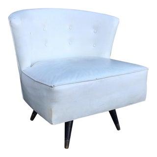 Mid Century Modern Barrel Back Swiveling Slipper Chair For Sale