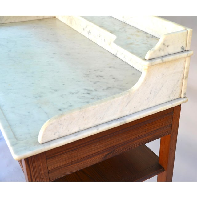 19th Century Antique Marble-Top Washstand/Table With Cedar Wood Base For Sale - Image 5 of 10