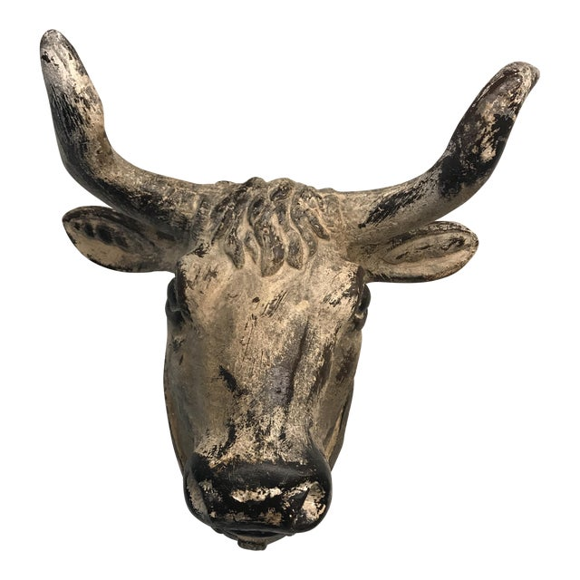 French Flea Market-style Ceramic Steer Cow Head - Image 1 of 7