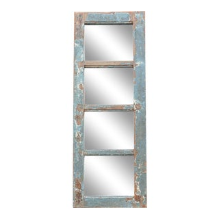 Aged Blue Painted Wood Framed Four-Panel Mirror For Sale