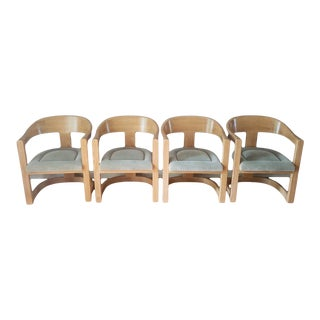1980s Vintage Karl Springer Onassis Chairs- Set of 4 For Sale