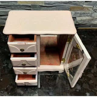 20th Century Shabby Chic Mele Wood Jewelry Chest With Glass Door and Floral Designs Preview