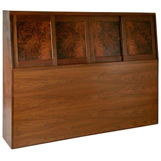 Solid Walnut Craftsman Headboard by Ed Crowell, Signed and Dated 1975 For Sale