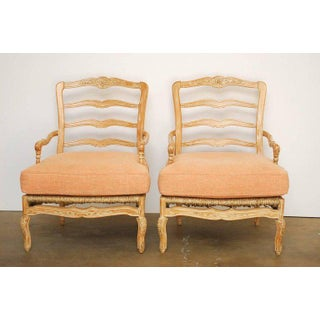 Pair of French Provincial Rush Seat Fauteuil Armchairs Preview