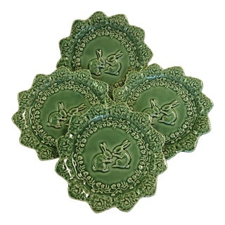 Bordallo Pinheiro Green Majolica Cabbage Leaf With Bunnies Plates - Set of 4 For Sale