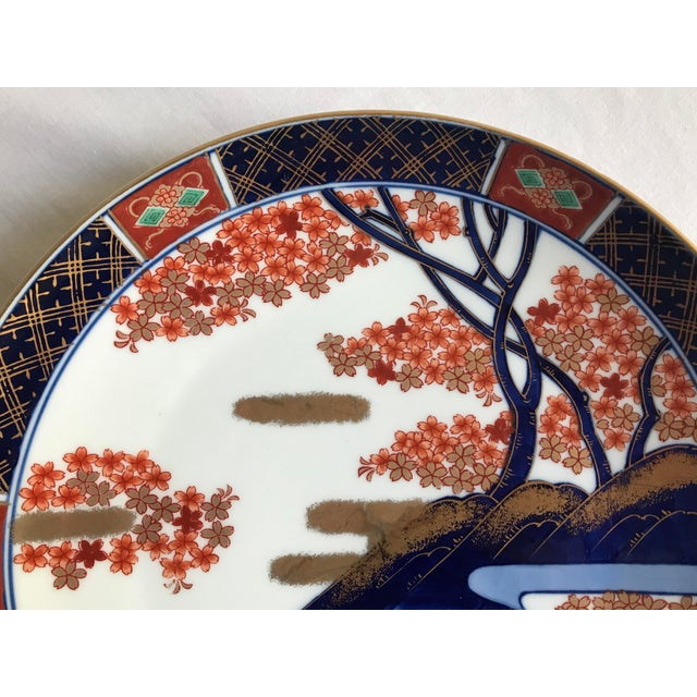 Asian Vintage Mid Century Japanese Hand Painted Gold Imari Decorative Plate For Sale - Image 3 of 13