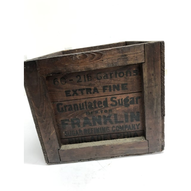 Wood Vintage Industrial Wood Shipping Crate Box - Benjamin Franklin Sugar For Sale - Image 7 of 11