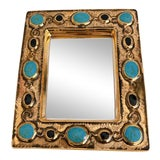 Image of Françoise Lembo Gold & Jeweled Mirror For Sale